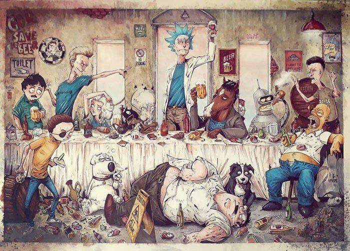 Marcelo Ventura artista brasileiro faz releitura de personagens da cultura pop de forma sombria e detalhada