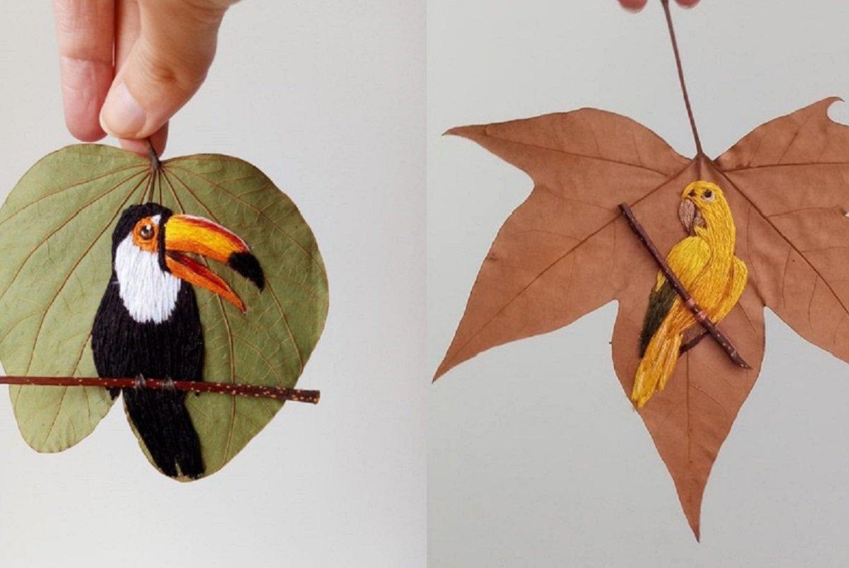 Laura Dalla Vecchia: artesã borda aves brasileiras em folhas secas e une preservação à arte