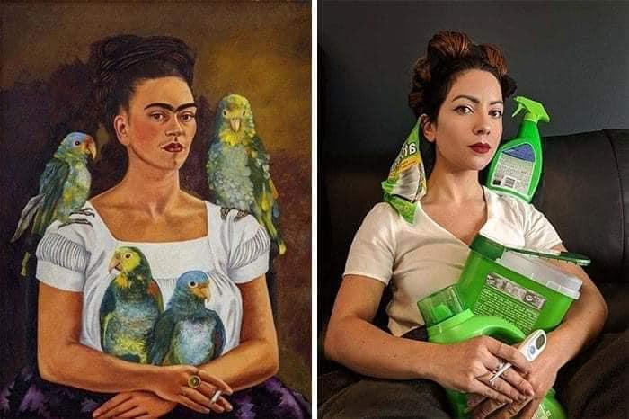 Coisa de quarentena museus pedem e pessoas recriam obras de arte em casa Este e o resultado 20