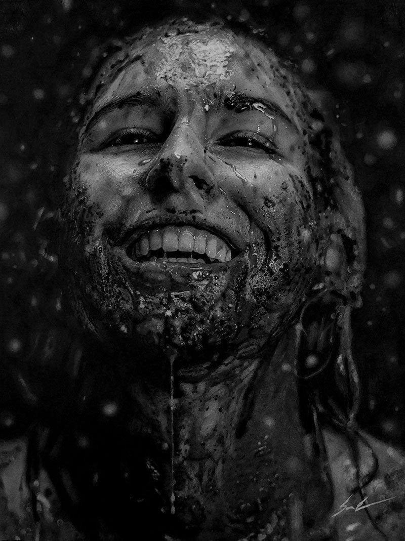 Dylan Eakin autodescrito fotorrealista produz retratos de carvao hiperrealistas 1