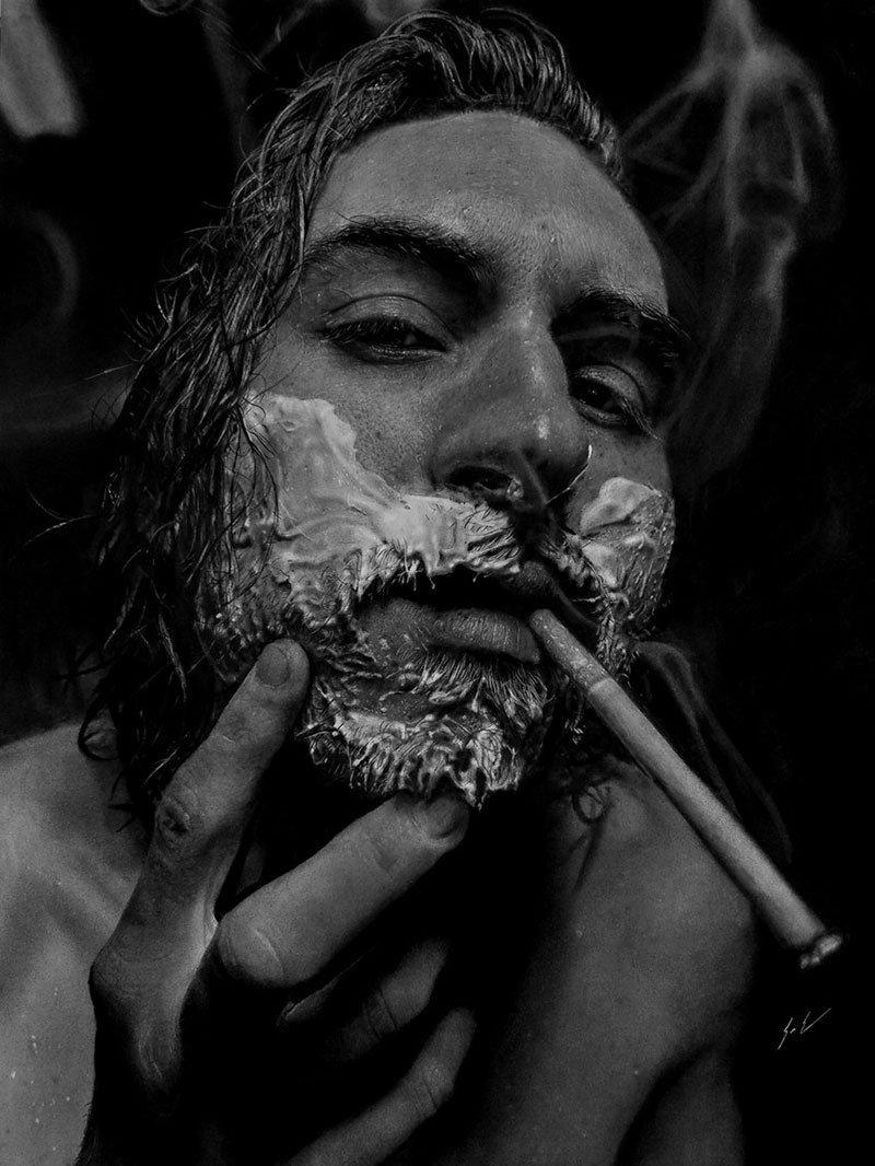 Dylan Eakin autodescrito fotorrealista produz retratos de carvao hiperrealistas 12