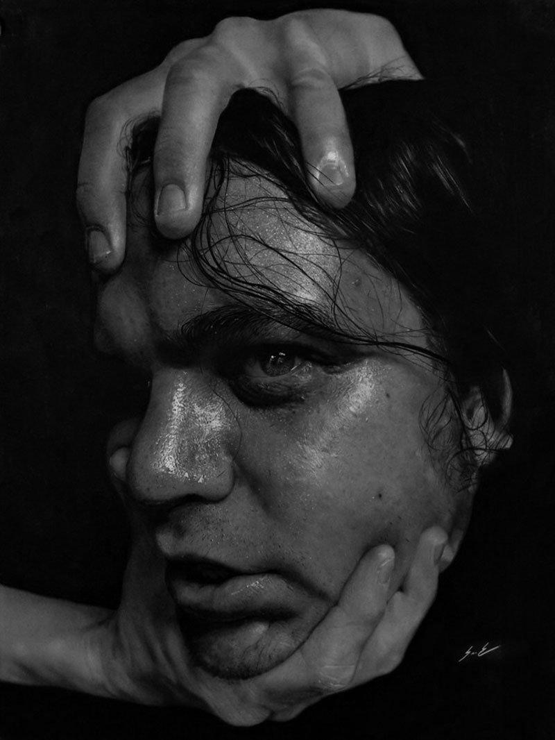 Dylan Eakin autodescrito fotorrealista produz retratos de carvao hiperrealistas 7
