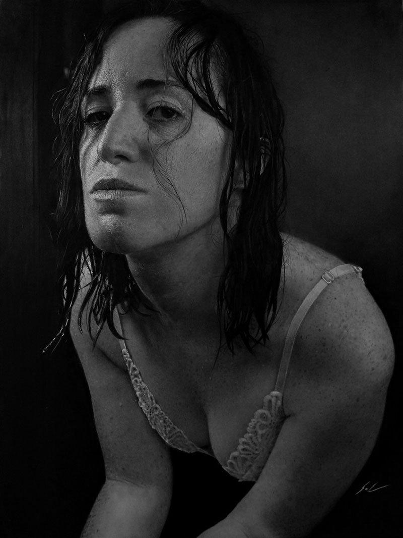 Dylan Eakin autodescrito fotorrealista produz retratos de carvao hiperrealistas 9