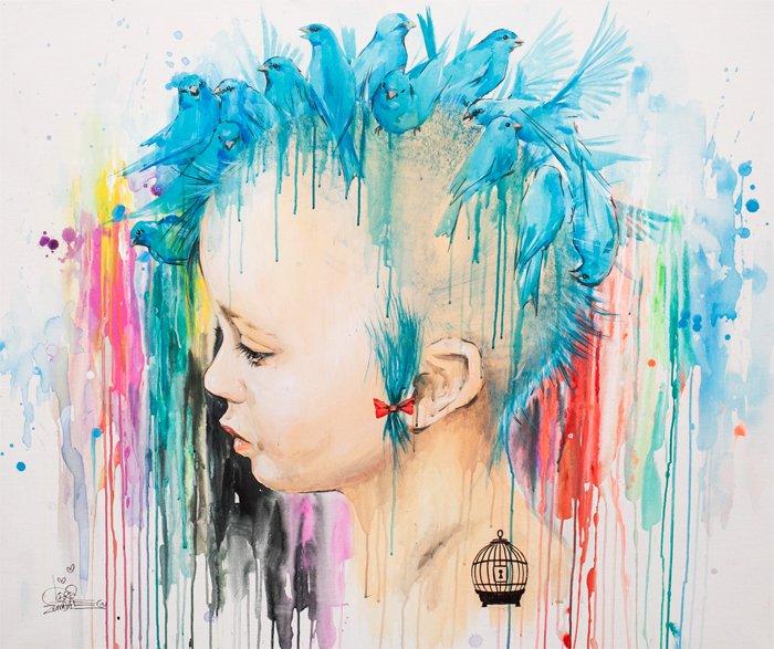 Lora Zombie artista Russa que possui uma arte obscura colorida e repleta de critica 9