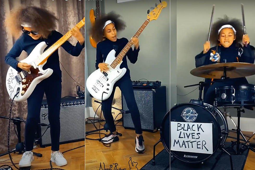 Nandi Bushell baterista de 9 anos se destaca com seu talento Mini rockstar chama atencao de Lenny Kravitz Flea e Serj Tankian 2