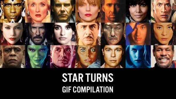Celebridades se movendo atraves dos posteres de filmes