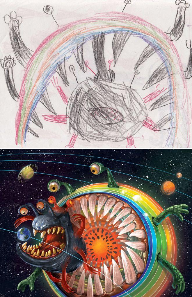 Em projeto Monster Project artistas recriam desenhos feitos por criancas 13