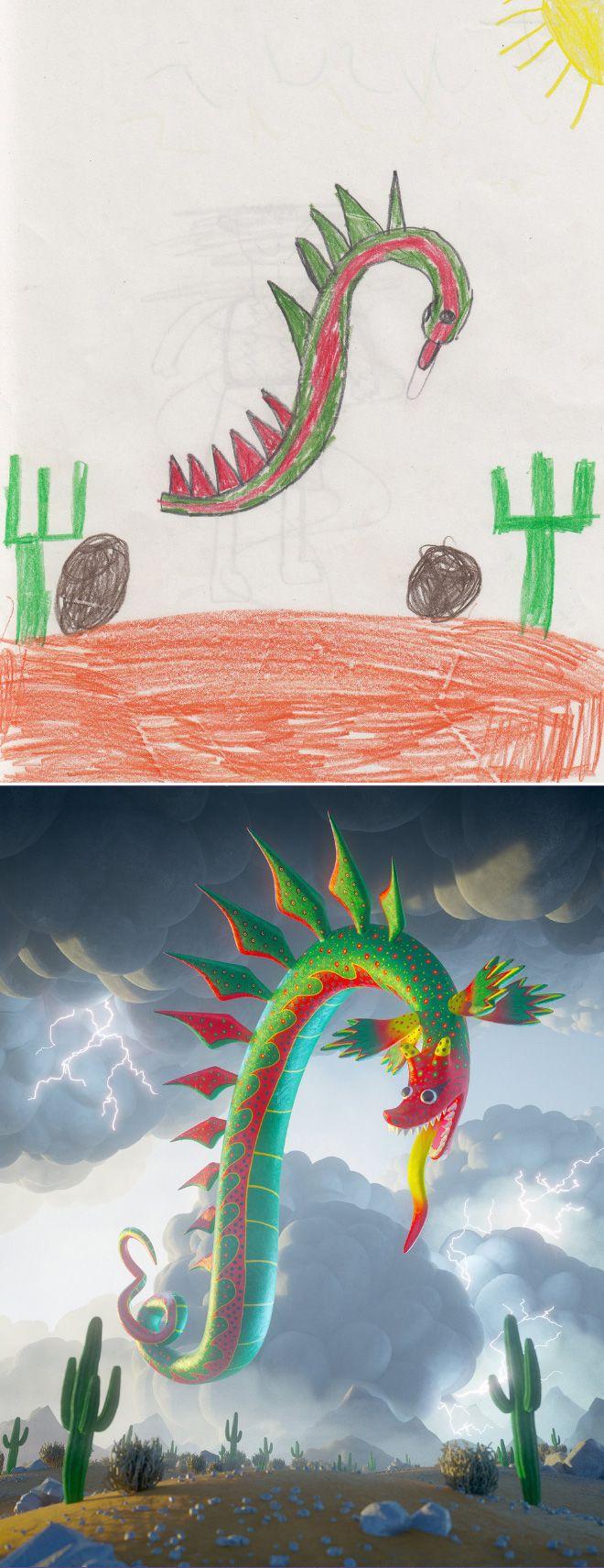 Em projeto Monster Project artistas recriam desenhos feitos por criancas 16