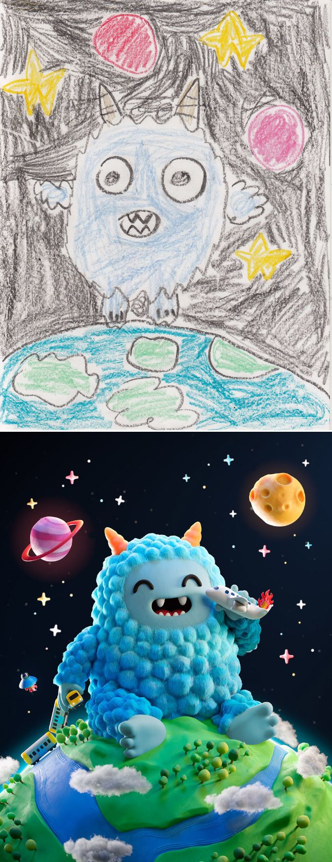 Em projeto Monster Project artistas recriam desenhos feitos por criancas 18