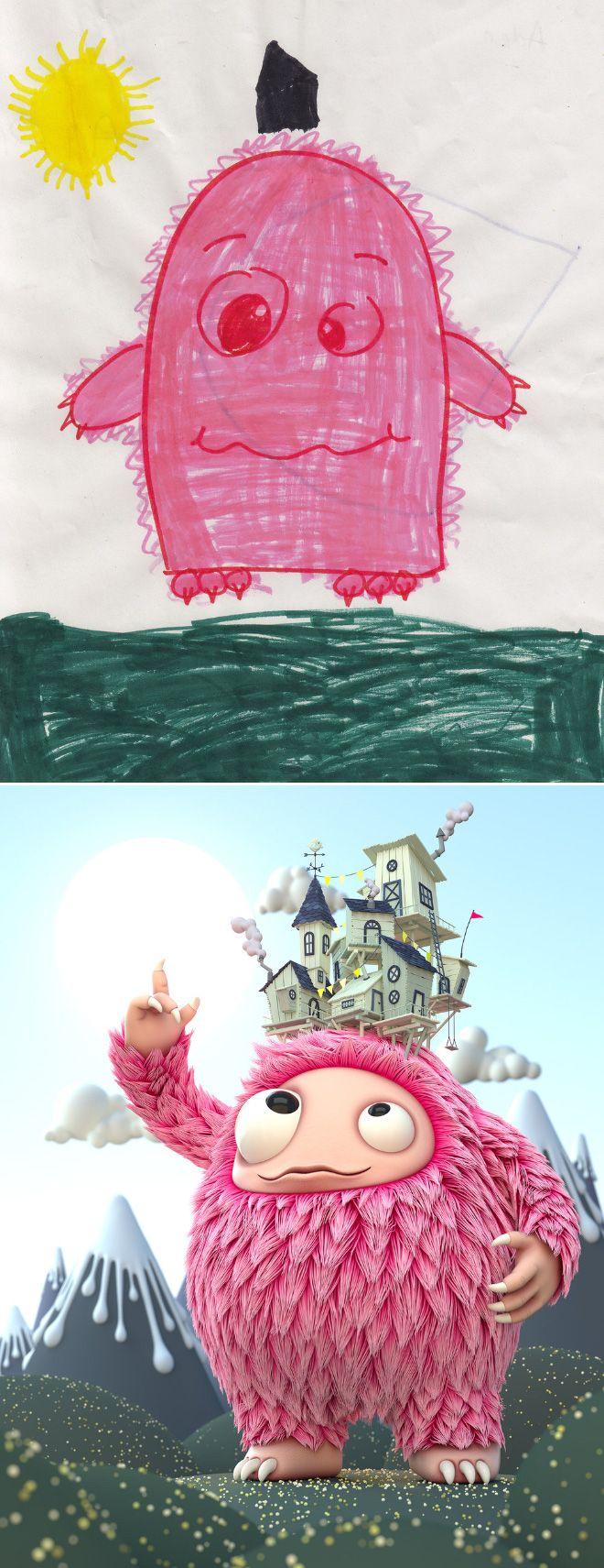 Em projeto Monster Project artistas recriam desenhos feitos por criancas 2