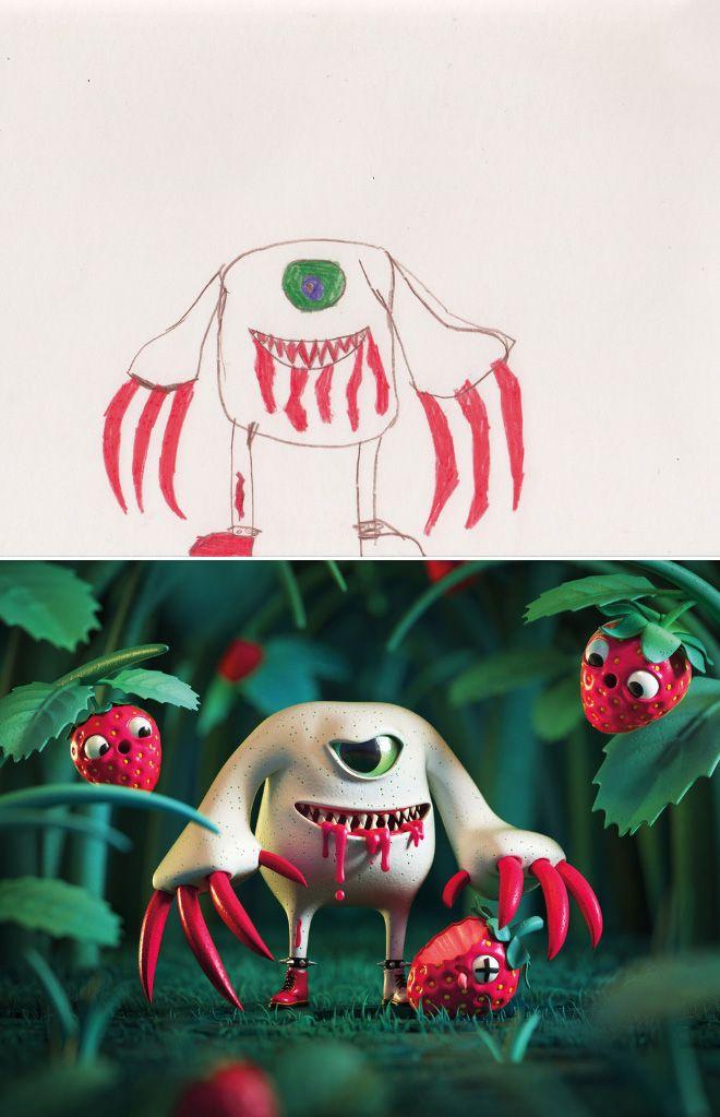 Em projeto Monster Project artistas recriam desenhos feitos por criancas 20