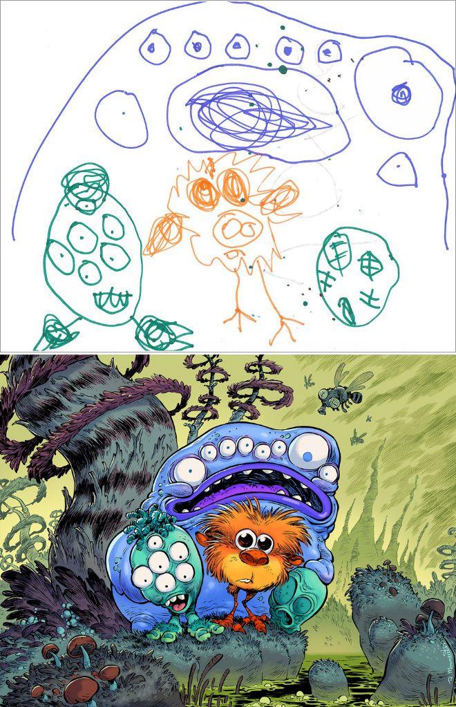 Em projeto Monster Project artistas recriam desenhos feitos por criancas 3