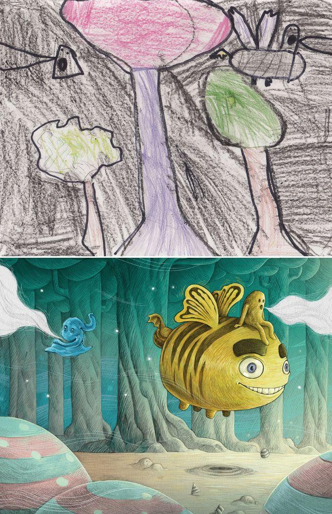 Em projeto Monster Project artistas recriam desenhos feitos por criancas 5