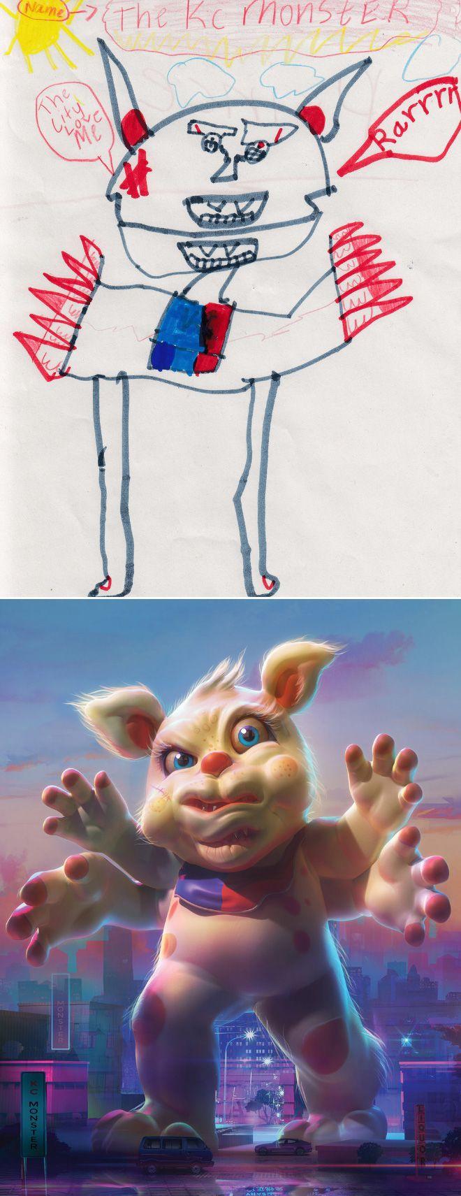 Em projeto Monster Project artistas recriam desenhos feitos por criancas 9