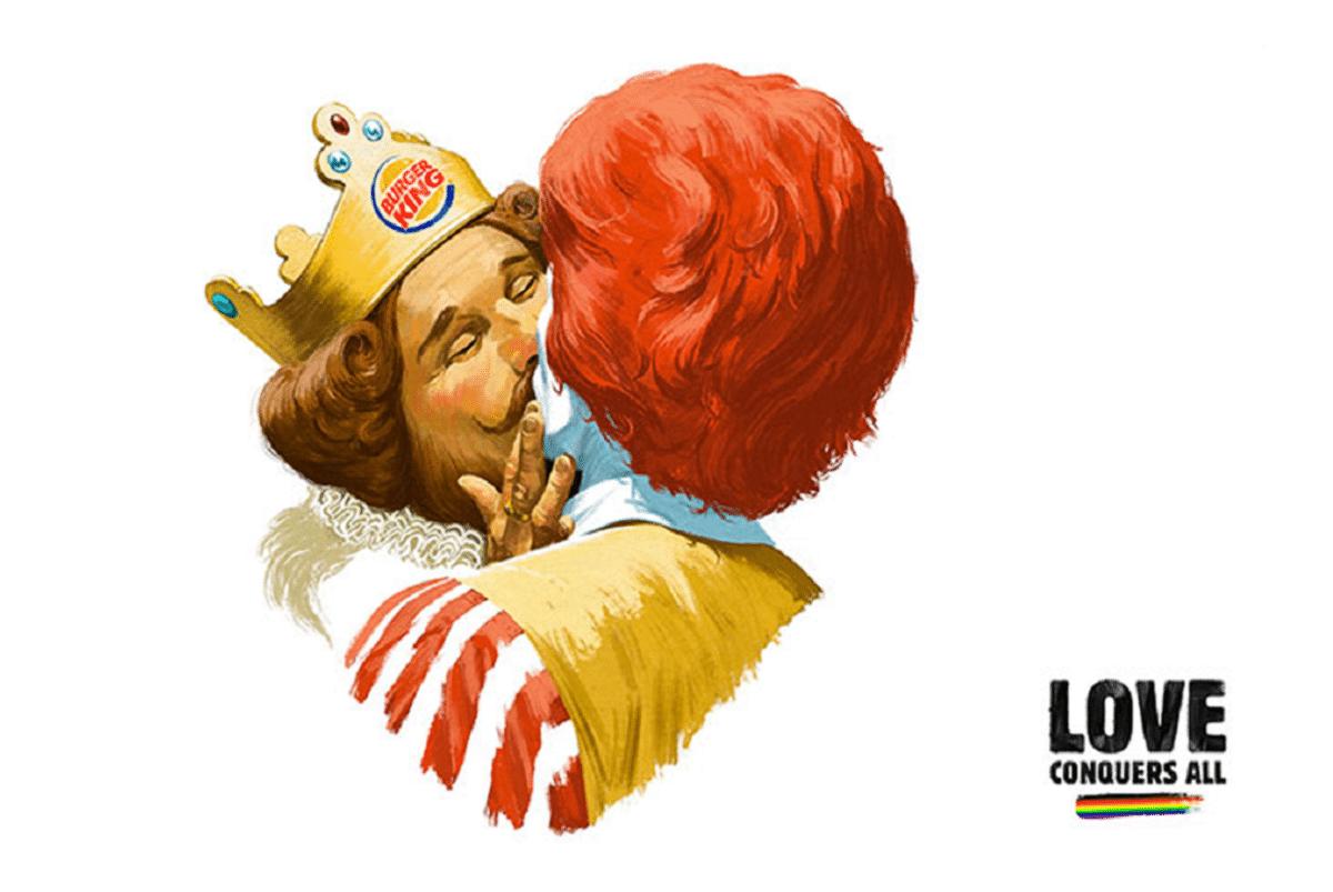 """""""O amor supera tudo"""": campanha do Burger King com o McDonald's chama a atenção para as celebrações do Orgulho de Helsinque"""