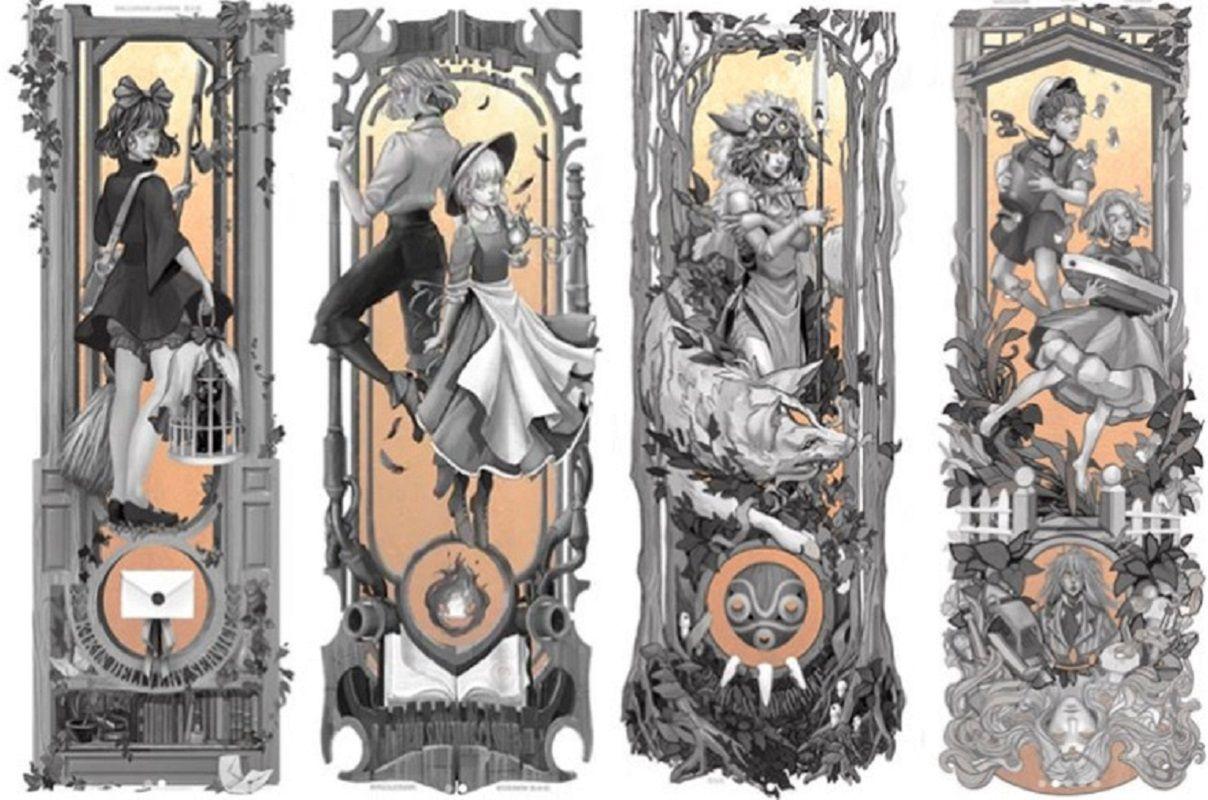 Personagens do Studio Ghibli em Art Nouveau