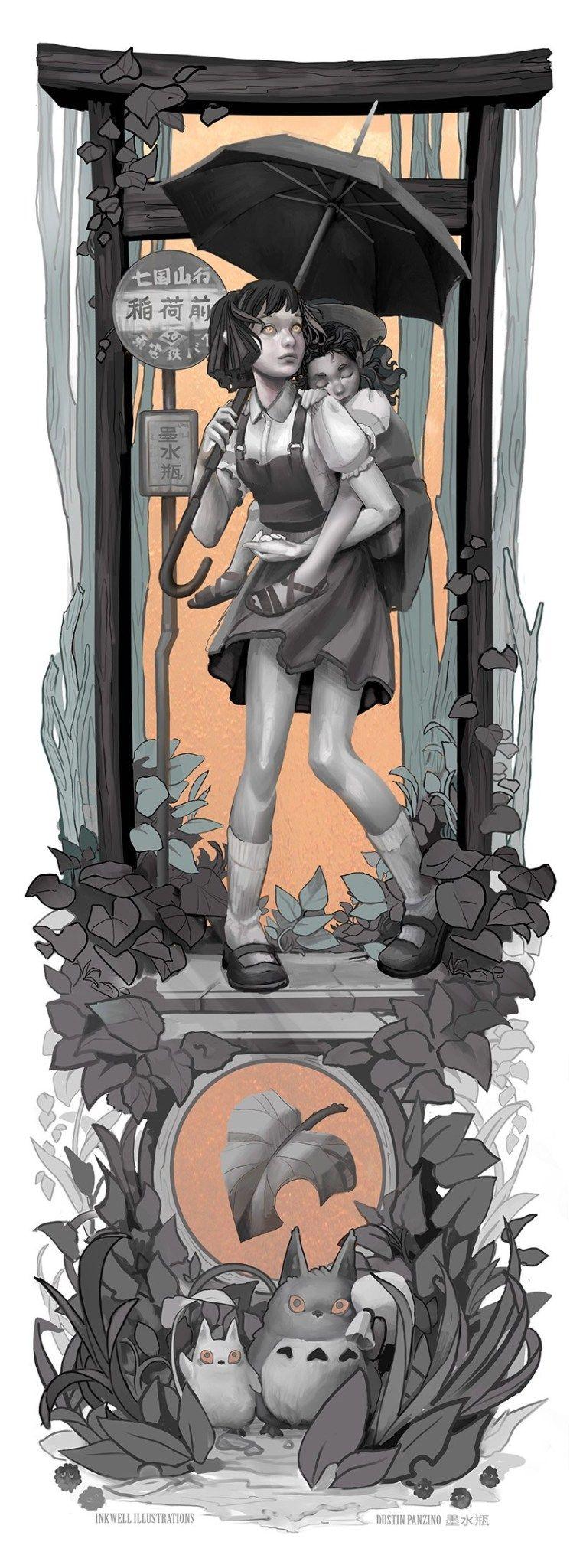 Personagens do Studio Ghibli em Art Nouveau 2