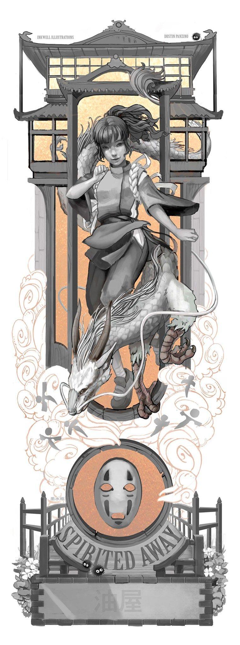 Personagens do Studio Ghibli em Art Nouveau 8
