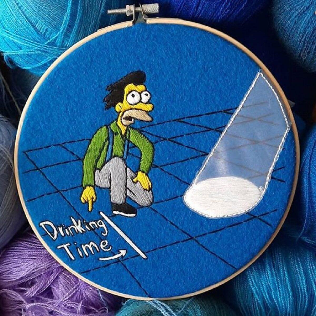 Artista Gabriela Martinez cria bordados de cenas de Os Simpsons 10