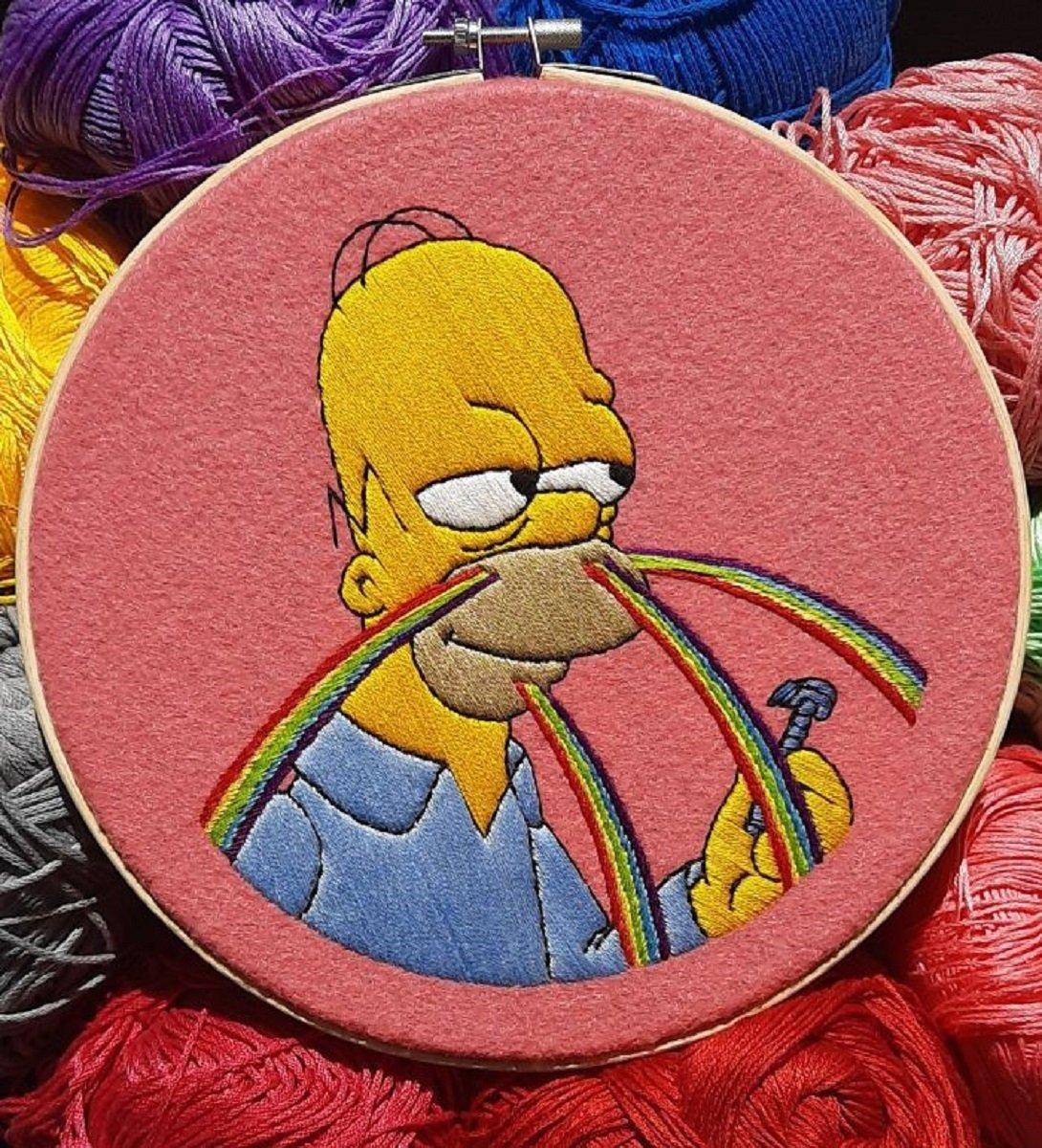 Artista Gabriela Martinez cria bordados de cenas de Os Simpsons 11