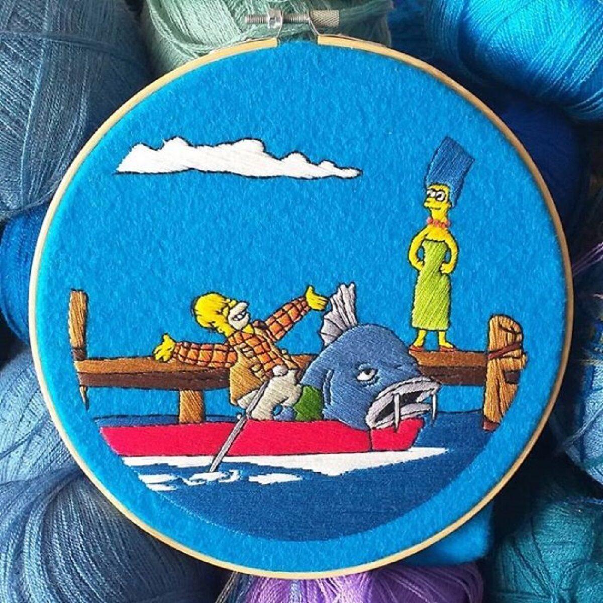 Artista Gabriela Martinez cria bordados de cenas de Os Simpsons 12