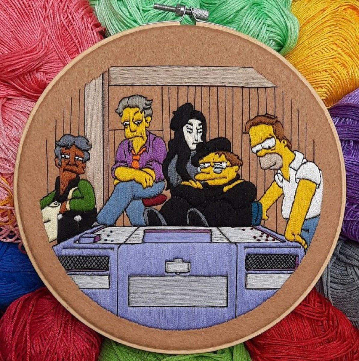 Artista Gabriela Martinez cria bordados de cenas de Os Simpsons 13