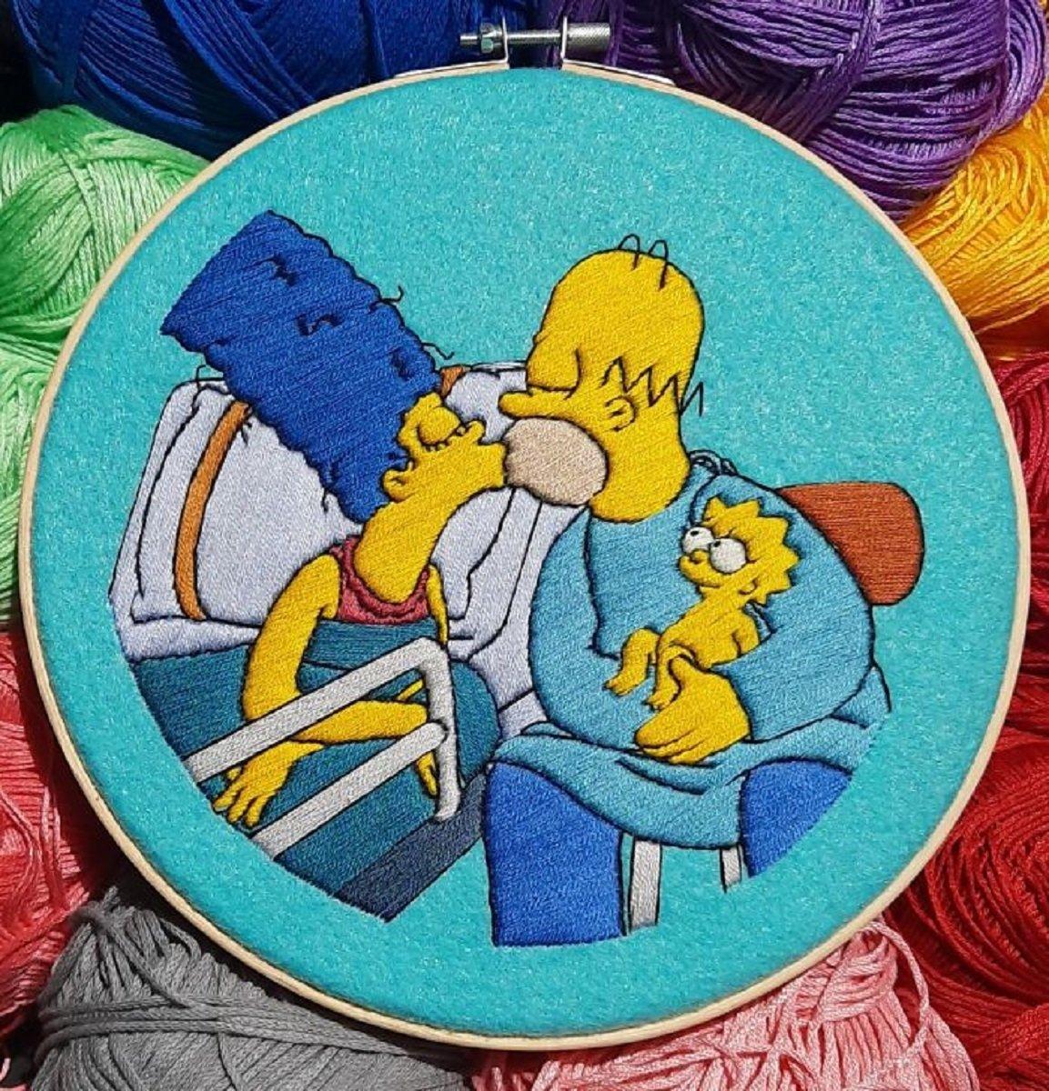 Artista Gabriela Martinez cria bordados de cenas de Os Simpsons 16