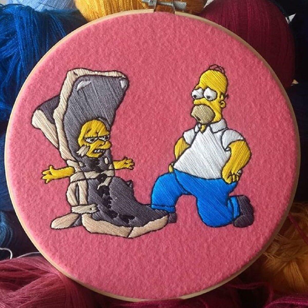 Artista Gabriela Martinez cria bordados de cenas de Os Simpsons 18