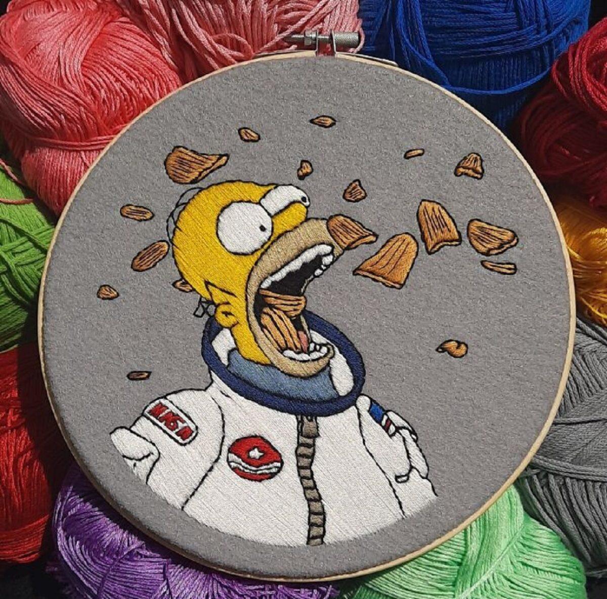 Artista Gabriela Martinez cria bordados de cenas de Os Simpsons 2