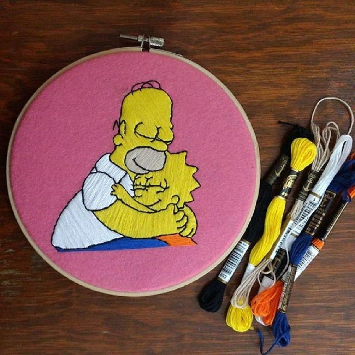 Artista Gabriela Martinez cria bordados de cenas de Os Simpsons 20