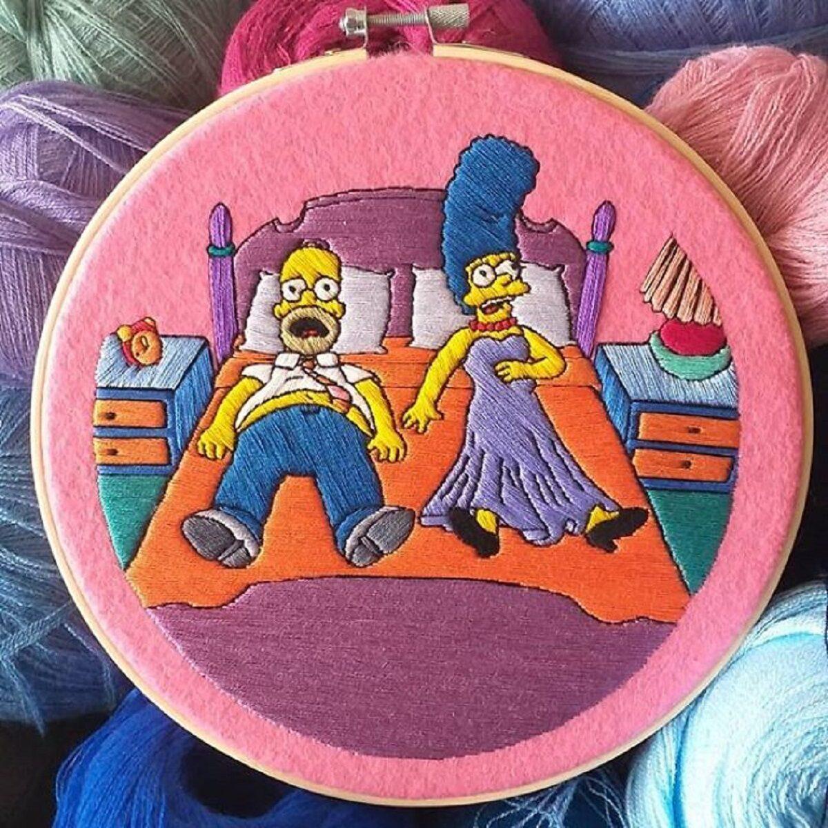 Artista Gabriela Martinez cria bordados de cenas de Os Simpsons 21