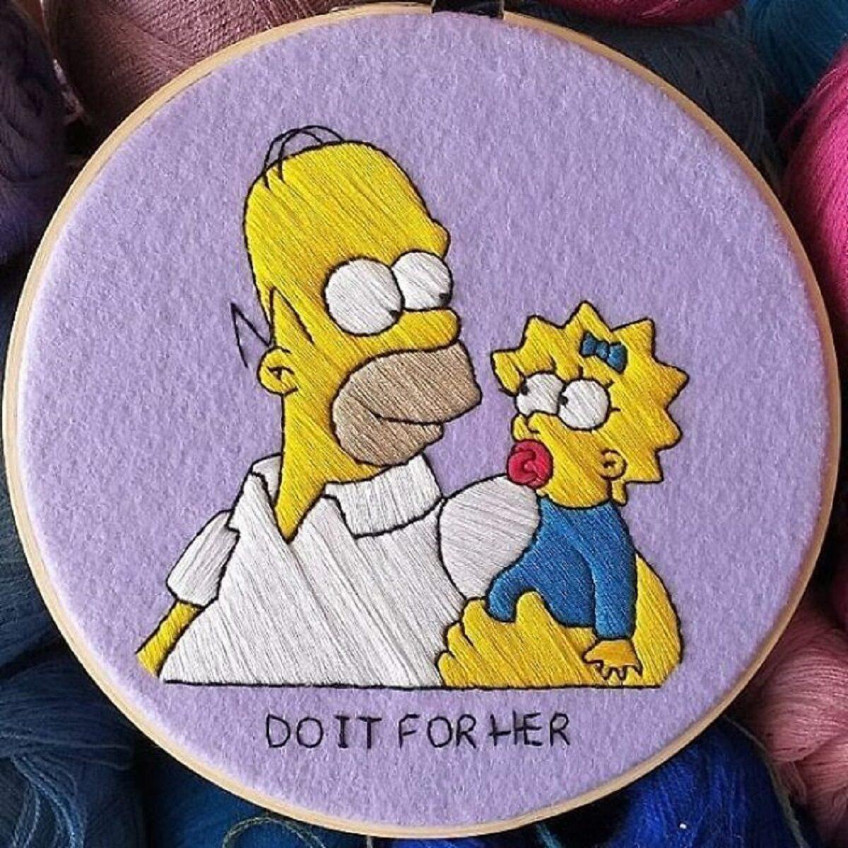 Artista Gabriela Martinez cria bordados de cenas de Os Simpsons 22