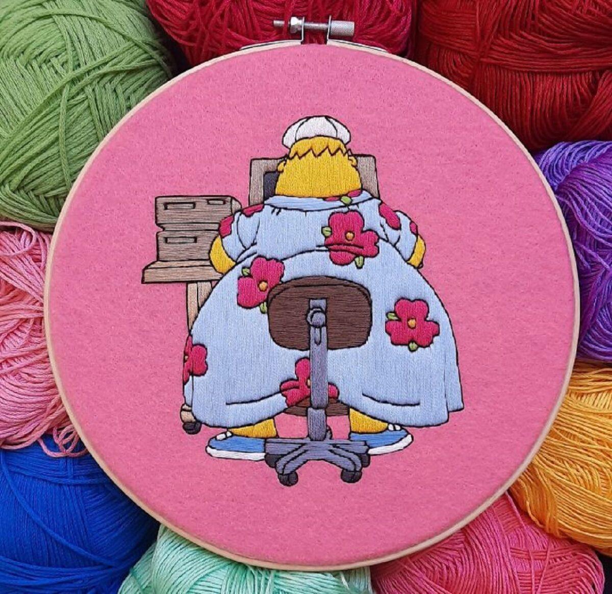 Artista Gabriela Martinez cria bordados de cenas de Os Simpsons 23