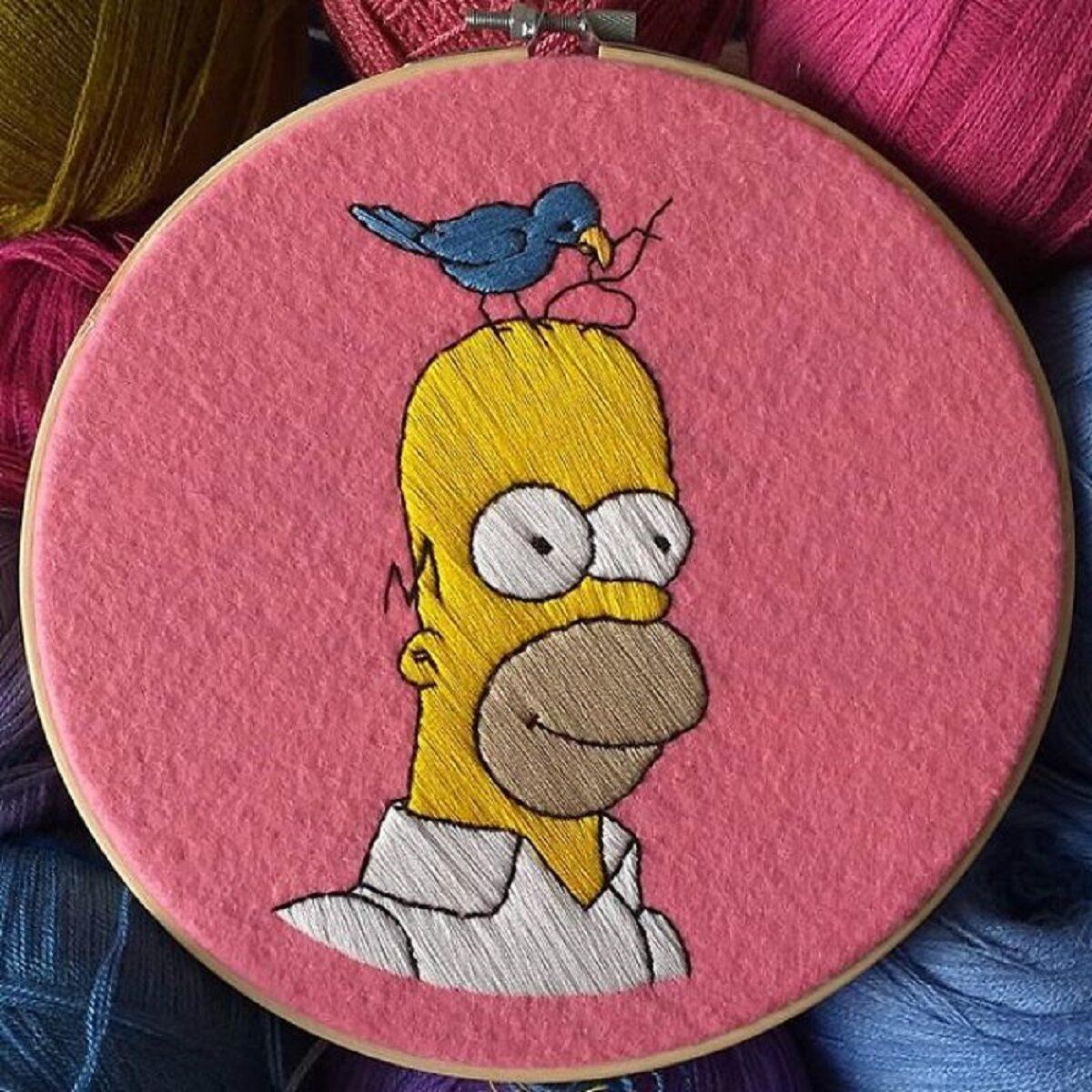 Artista Gabriela Martinez cria bordados de cenas de Os Simpsons 24