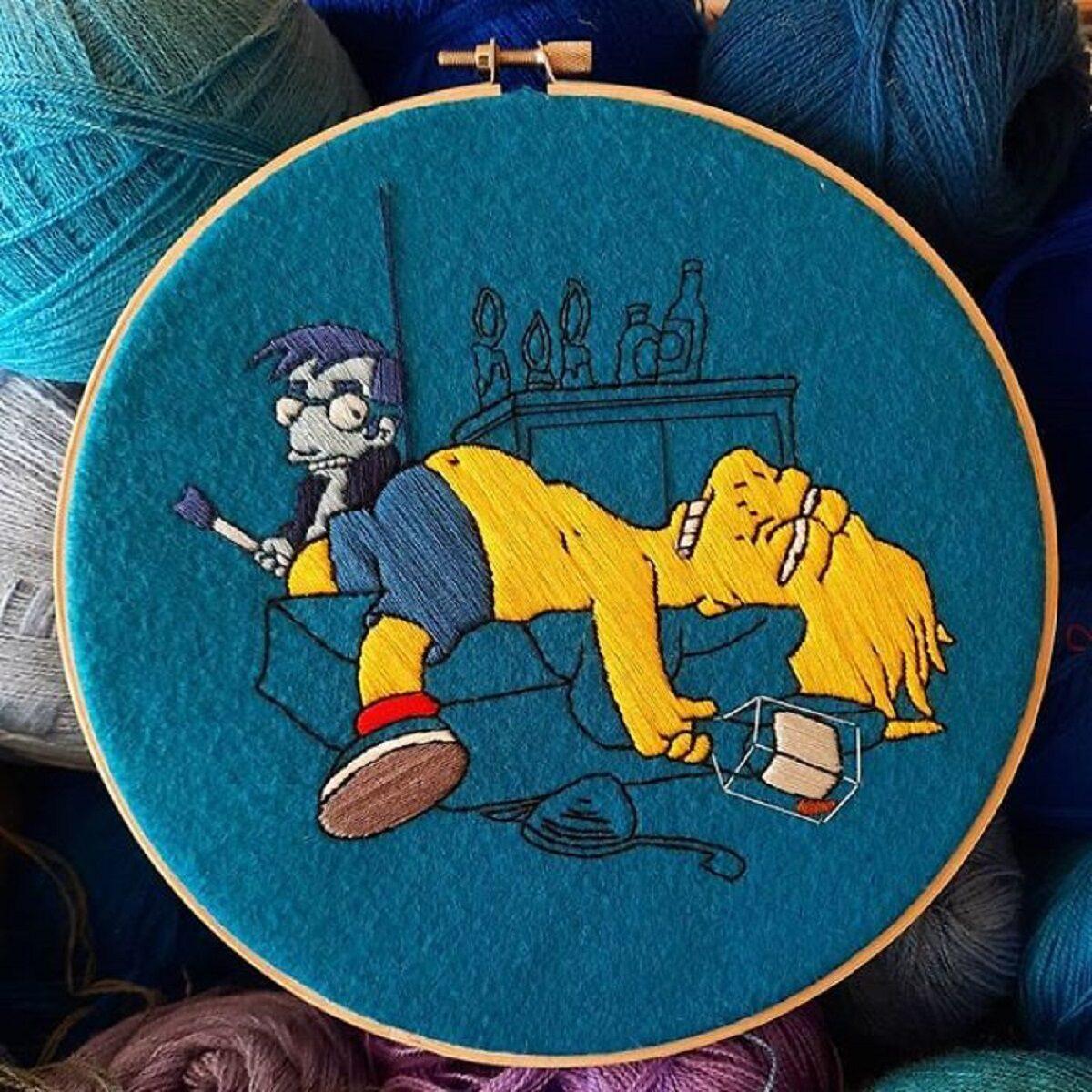 Artista Gabriela Martinez cria bordados de cenas de Os Simpsons 25