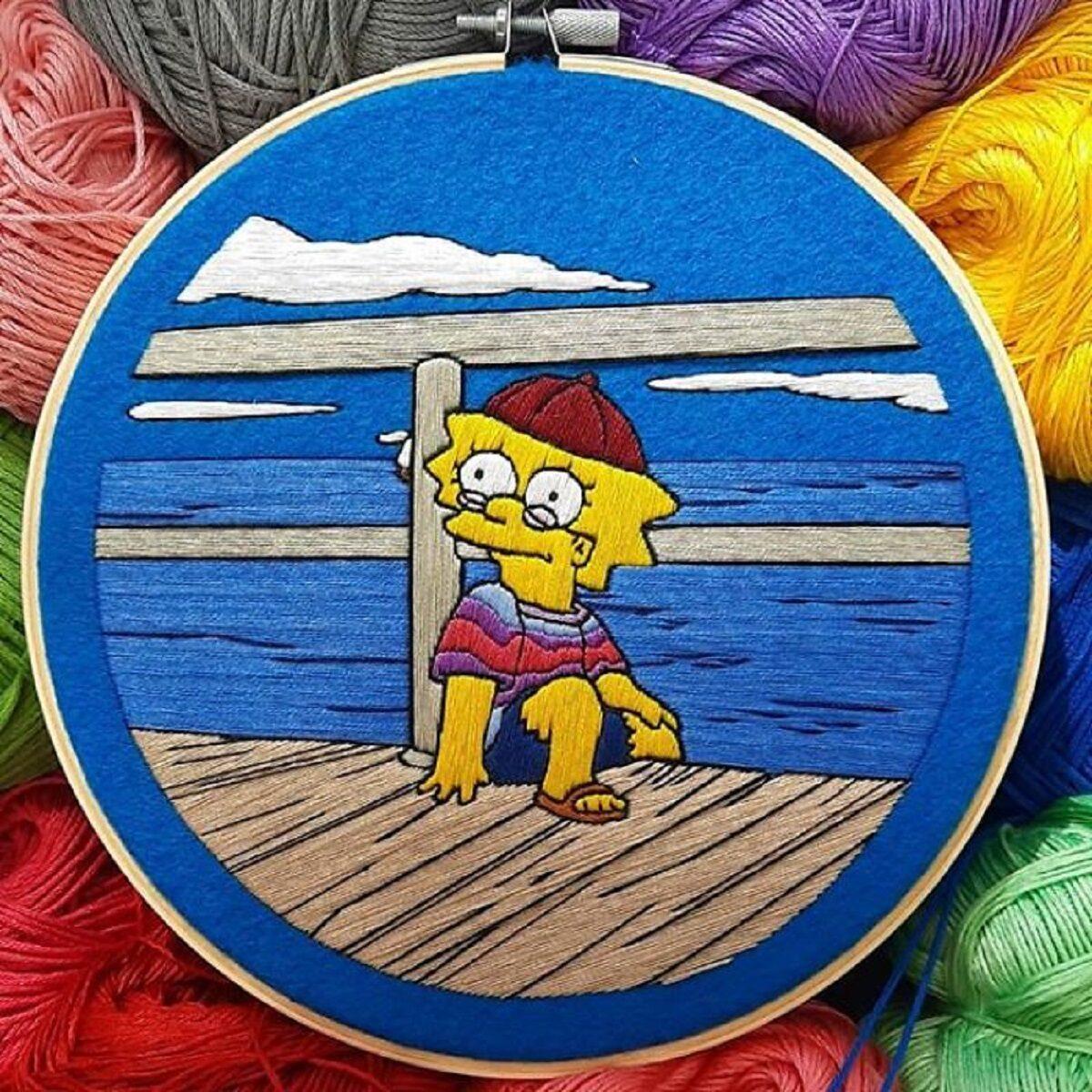 Artista Gabriela Martinez cria bordados de cenas de Os Simpsons 26