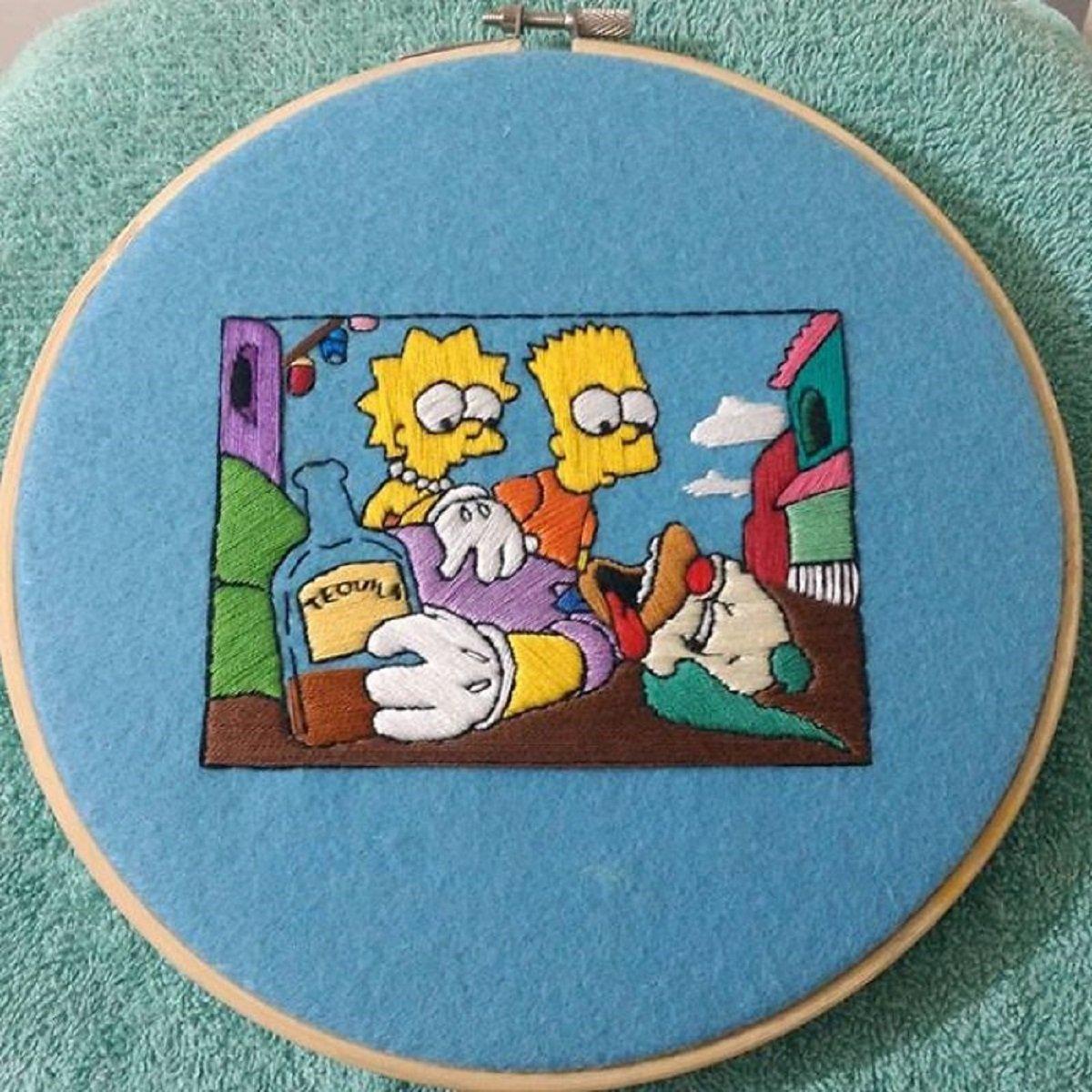 Artista Gabriela Martinez cria bordados de cenas de Os Simpsons 29