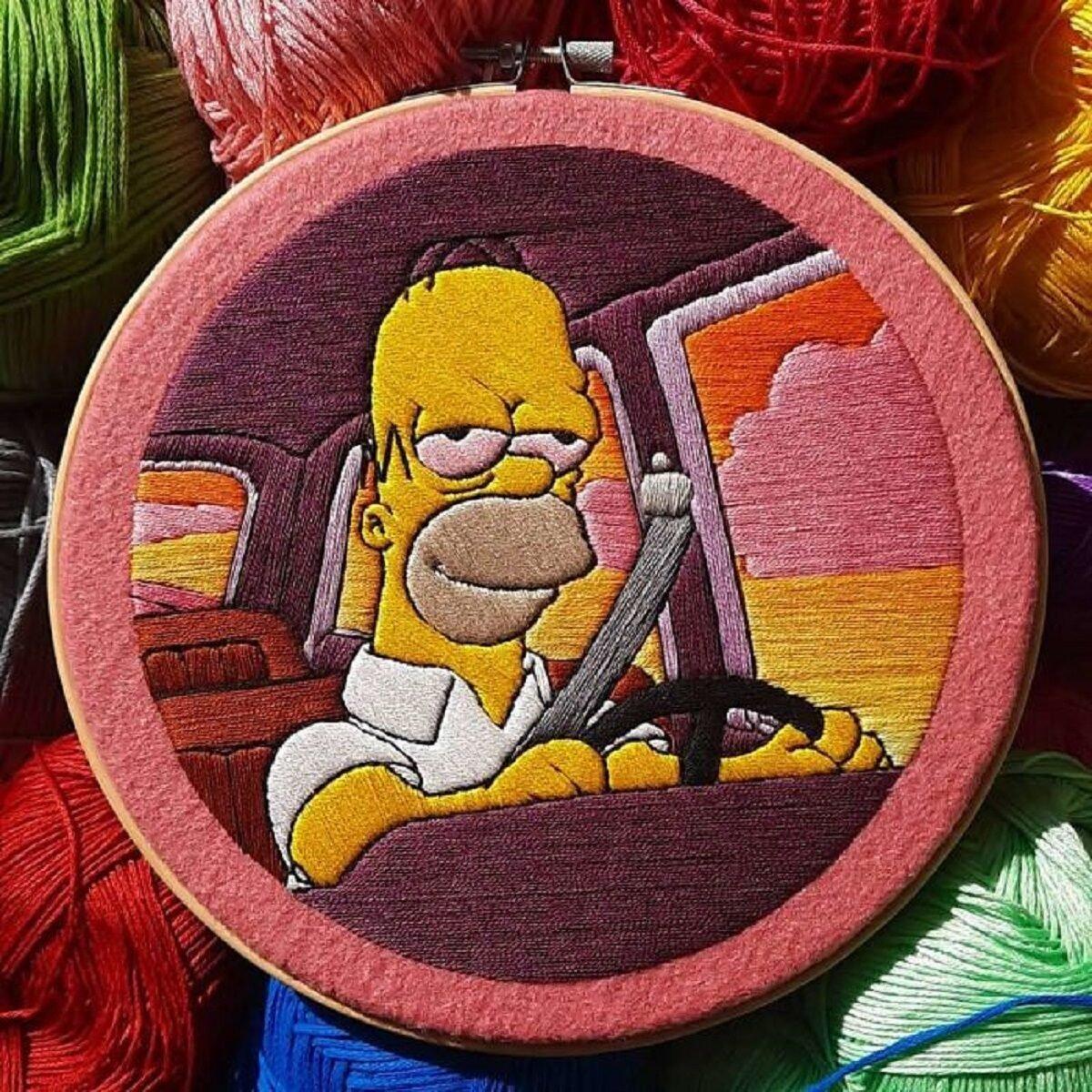 Artista Gabriela Martinez cria bordados de cenas de Os Simpsons 5