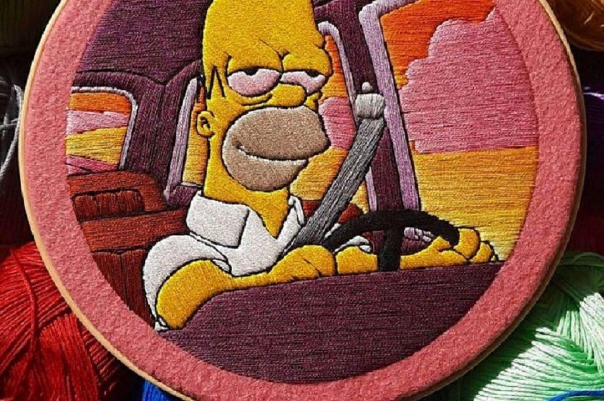 Artista Gabriela Martinez cria bordados de cenas de Os Simpsons 5 Copia