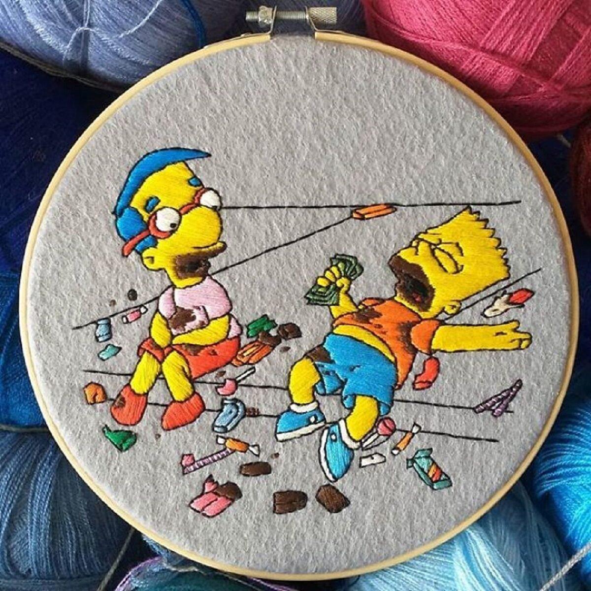Artista Gabriela Martinez cria bordados de cenas de Os Simpsons 6