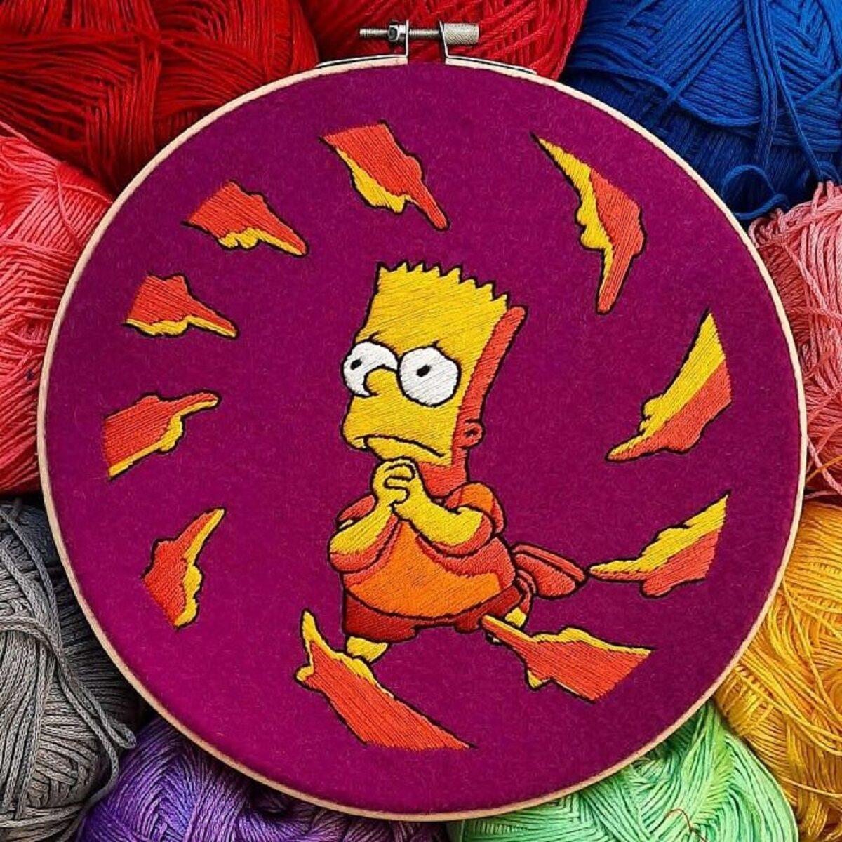 Artista Gabriela Martinez cria bordados de cenas de Os Simpsons 7