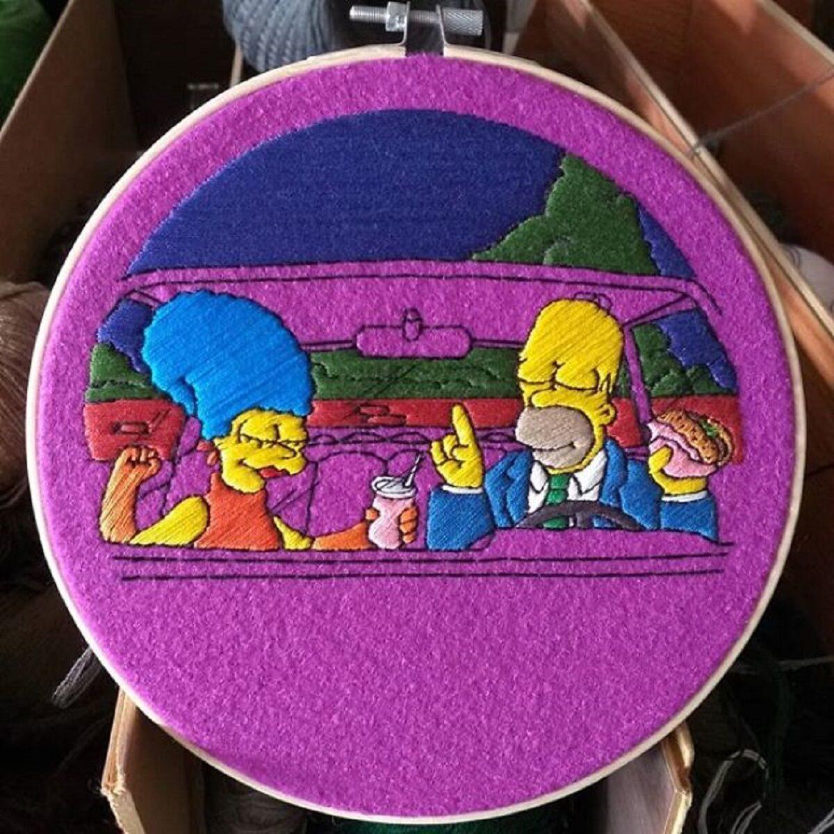 Artista Gabriela Martinez cria bordados de cenas de Os Simpsons 8
