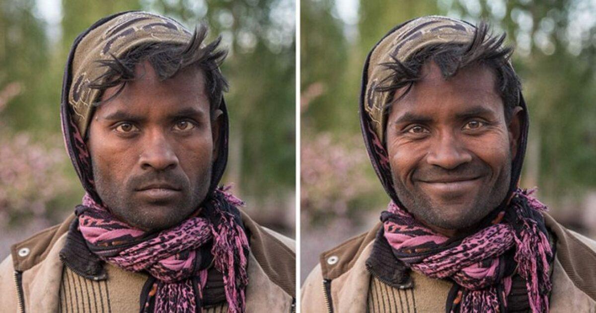 Pessoas antes e depois de um sorriso 1