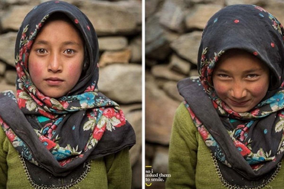 Pessoas antes e depois de um sorriso