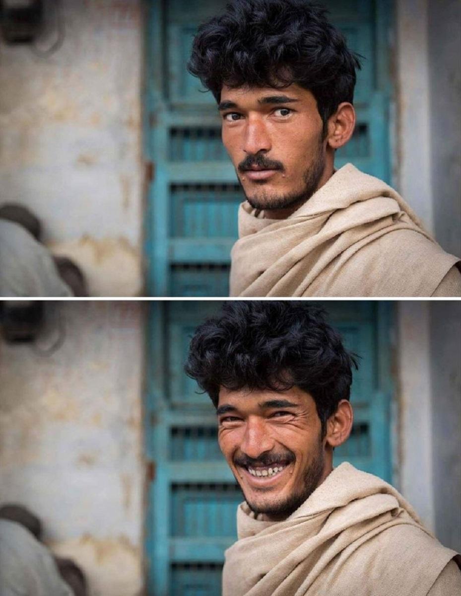 Pessoas antes e depois de um sorriso 5