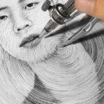 DP ART DRAWING este artista desenha retratos usando compasso