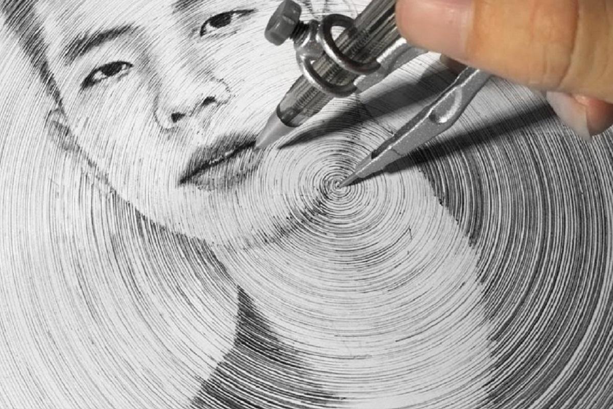 DP ART DRAWING: este artista desenha retratos usando compasso
