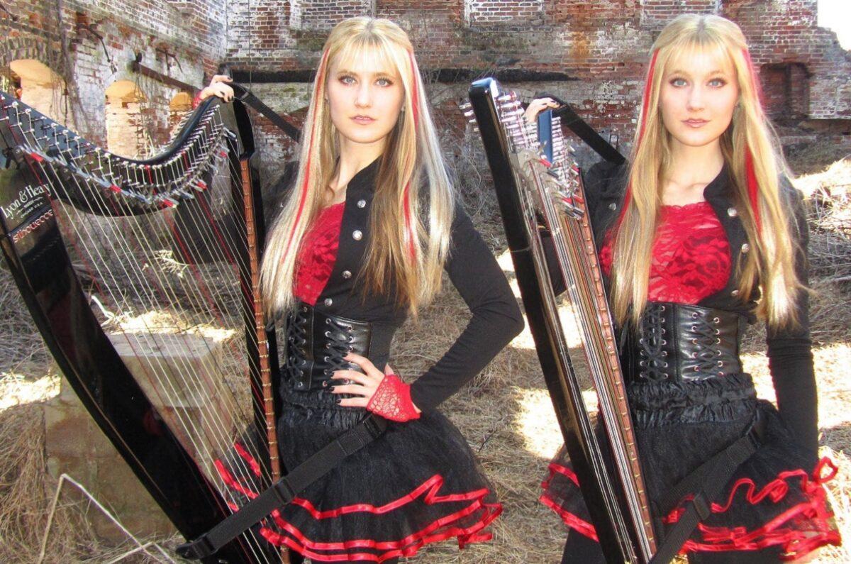 Harp Twins irmas gemeas fazem versoes de classicos do rock com harpas