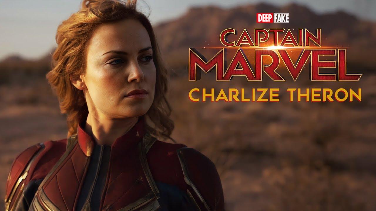 Em Deepfake Charlize Theron substitui a atriz Brie Larson como a Capitã Marvel