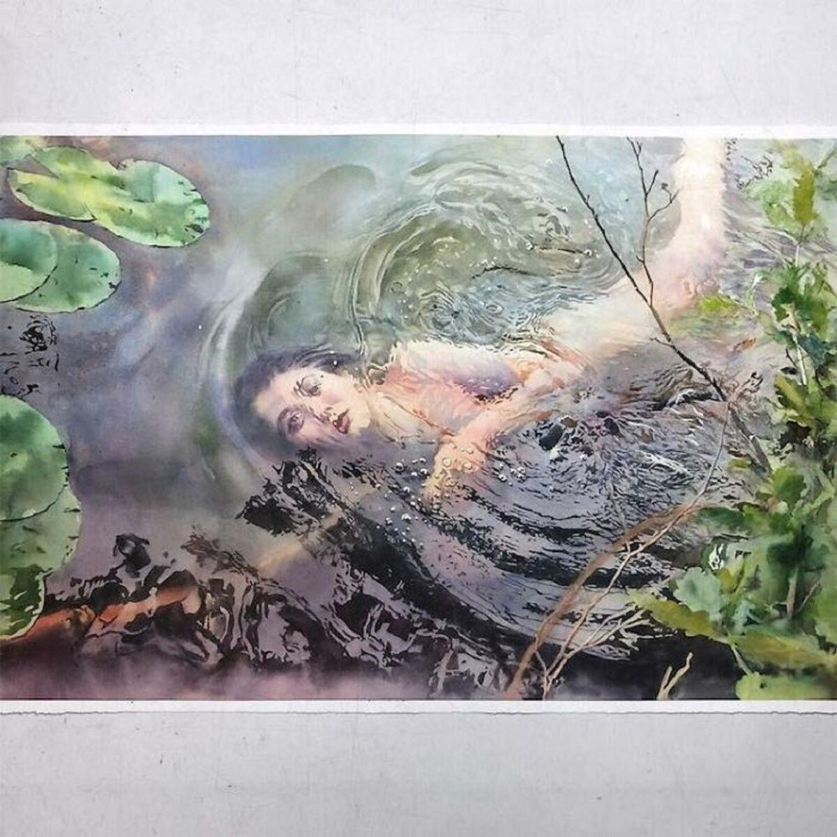 Marcos Beccari artista brasileiro retrata pessoas dentro dagua em incriveis pinturas aquarelas 1